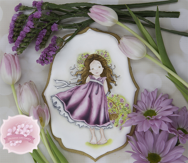 Hand Painted Flower Girl with Rose Basket Cookie Workshop