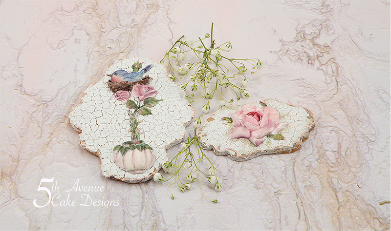 Birdtopia with a Vintage Cracked Glaze Cookie Art Course 🌹🕊️🖌️