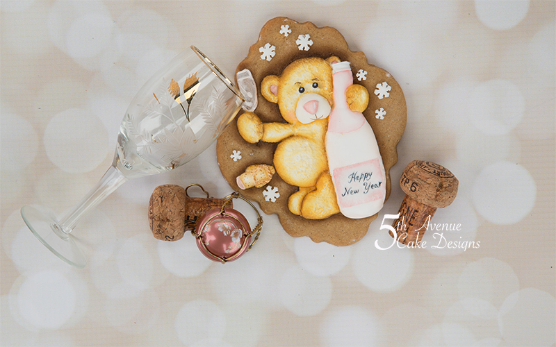 Nester the New Year Bear Cookie Art Course 🍾🥂🎊