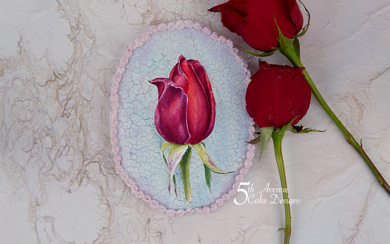5th Avenue Red Rosebud with Cracked Glazed Background Cookie Art Course🍃🌹💞